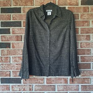 3/$30 Columbia Grey Long Sleeve Button Front Top M